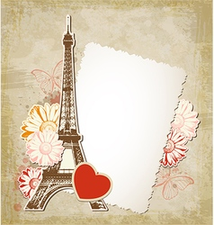 Paper frame and Eiffel tower vector image