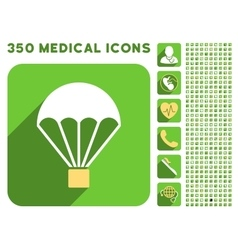 Parachute icon and medical longshadow icon set vector
