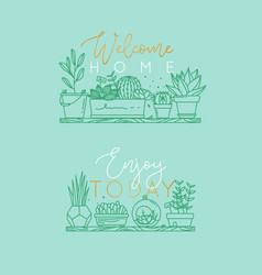 Shelf with flowers welcome home turquoise vector