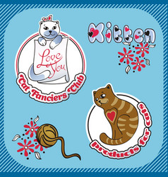 Sticker label with the image of cats vector