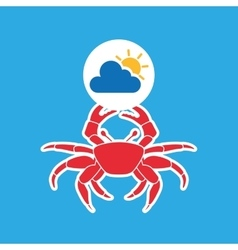 Summer vacation design crab sea life vector
