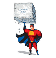Super man raises a big boulder with text vector