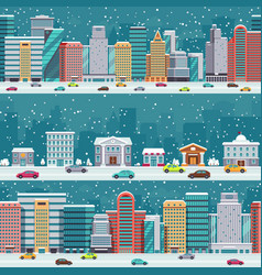 winter city streets with cars and buildings vector image vector image