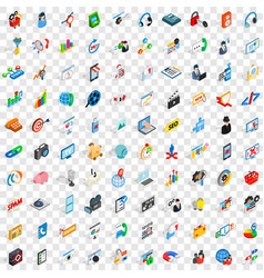 100 seo icons set isometric 3d style vector
