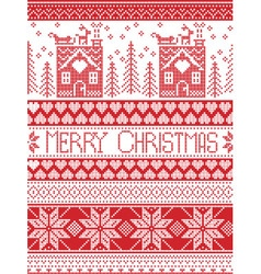 Merry christmas tall xmas pattern with gingerbread vector