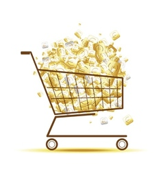 Pile of euro coins in shopping cart for your vector