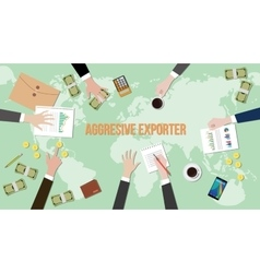 Aggressive exporter concept discussion vector