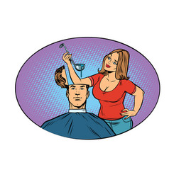 Wife husband prepares soup in his head vector
