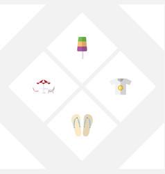 Flat icon beach set of recliner sundae clothes vector