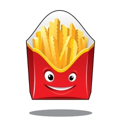 Cartoon french fries in a carton pack vector
