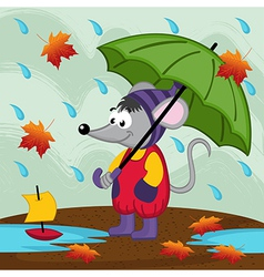 Mouse in rain autumn vector