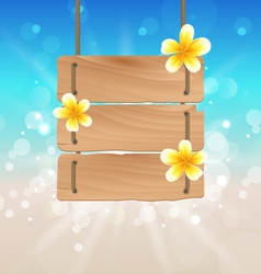 Hanging wooden signboard with tropical flowers vector
