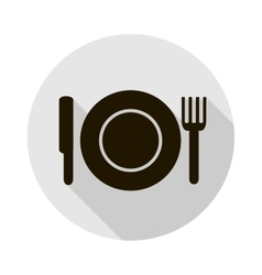 Icon with a silhouette of a plate knife vector