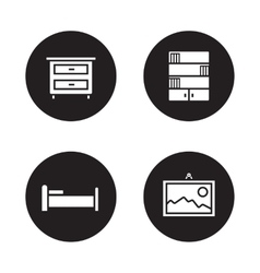 Bedroom furniture black icons set vector