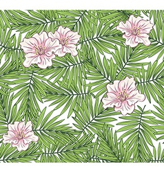Aloha hawaii palm leaves with flowers on the vector