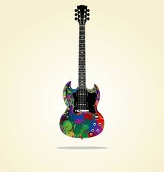 Electric guitar with colorful paint texture vector