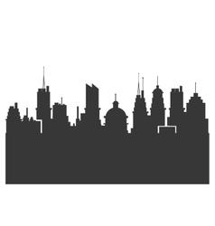Modern city skyline silhouette icon vector