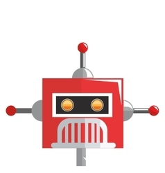 colorful red robot with three antennas icon vector image