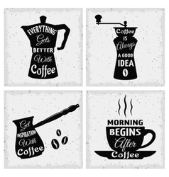 Coffee quotes icon set vector