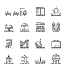 Amusement circus and carousel linear icon vector
