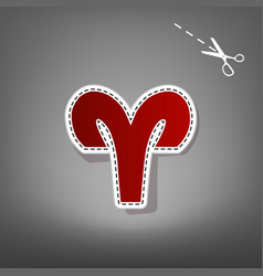 Aries sign red icon with for vector