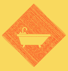 Bathtub sign red scribble vector