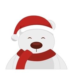 Bear polar christmas character isolated icon vector