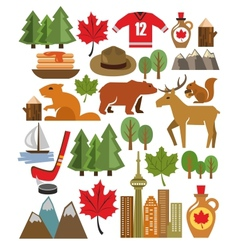 canada icon set vector image