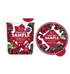 Cherry chocolate Yogurt Packaging Design Template vector image vector image