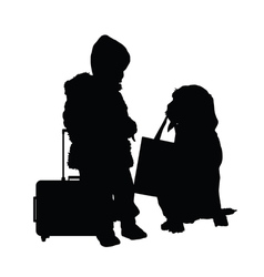 Child with dog and travel bag vector