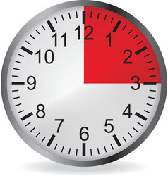 Clock with red 15 minute deadline vector image vector image