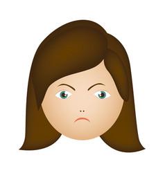 Colorful cartoon human female furious face vector