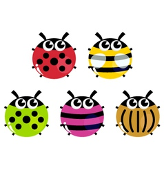 Colorful cartoon insects set isolated on white vector image vector image