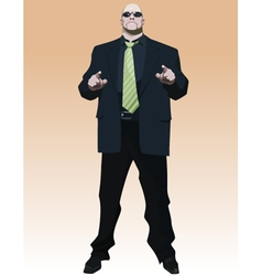 Cool cartoon man in a black suit and sunglasses vector