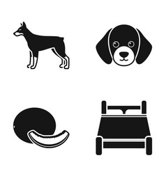 Doberman puppy and other web icon in black style vector