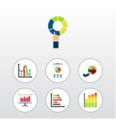 flat icon graph set of pie bar statistic graph vector image