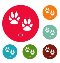 fox step icons circle set vector image