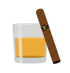 glass of whiskey with cigar premium alcohol vector image vector image
