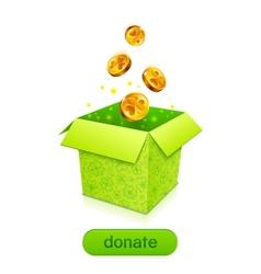Green donation box with golden fallen coins vector