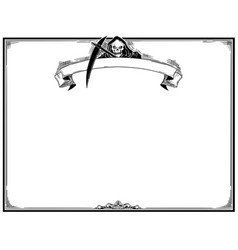 Halloween frame with grim reaper vector