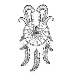 Hand drawn goat skull doodle dotwork fullface of vector