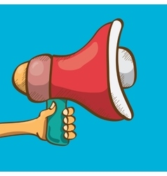 Hand holding megaphone on blue background vector