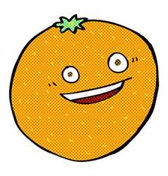 happy comic cartoon orange vector image