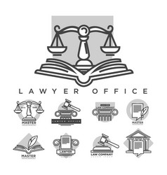 Law company logotypes collection in grey color vector