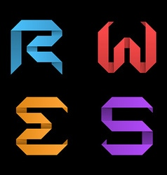 Logo templates of letters Letters RWES Ribbon vector image