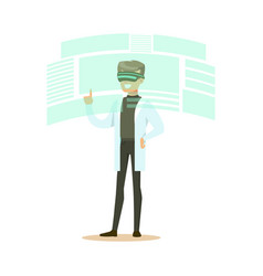 Male scientist wearing vr headset working in vector
