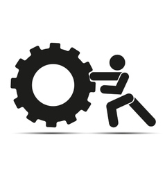 Man pushes a wheel vector image vector image