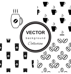 Monochrome pattern with cup of coffee vector