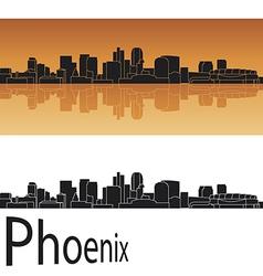Phoenix skyline in orange background vector