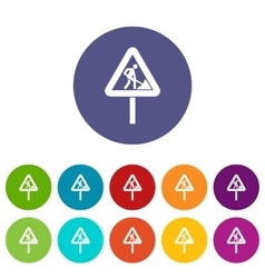 Road works sign set icons vector image